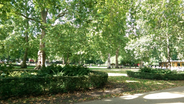 The calm before the storm - sitting in Russell Square awaiting an audience with Tom & Johan of Evergrey