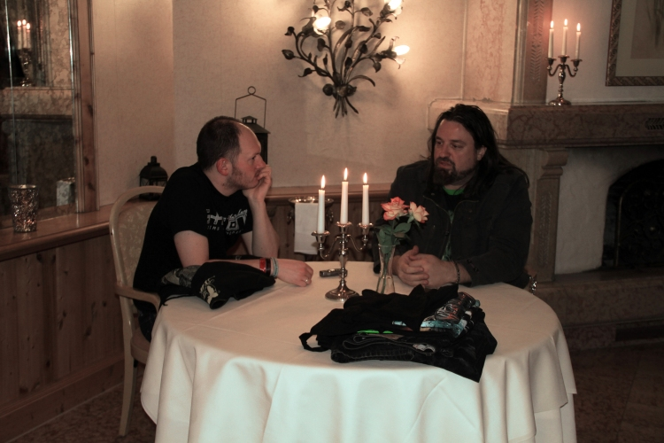 Russell & I enjoying a candlelit chat for two, 2011