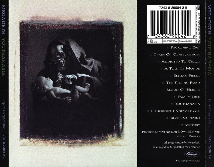 megadeth youthanasia back cover